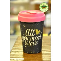 """Bamboo To-Go Cup """"All you need is Love"""" 400ml"""