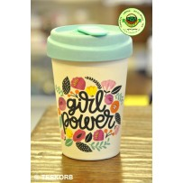 """Bamboo To-Go Cup """"Girl Power"""" 400ml"""