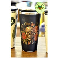 Bamboo Cup Edelstahl Deluxe Thermobecher Isolierbecher Becher to go Totenkopf Skull