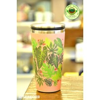 "Bamboo Cup Edelstahl Deluxe Thermobecher Isolierbecher Becher to go ""Pink Jungle"""